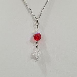 N148  Czech Red AB Crystal Necklace